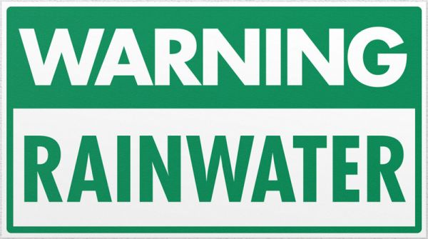 Warning Rainwater (Self Adhesive)